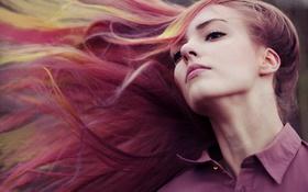 Картинка девушка, ветер, романтика, волосы, макияж, лирика