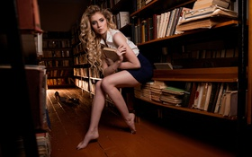 Обои Nice, Lena, Book, Hair, View, Blonde, Model