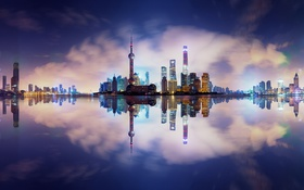 Обои отражения, город, Китай