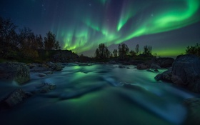 Картинка небо, река, скалы, северное сияние