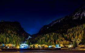Обои лес, снег, горы, ночь, дома, Tyrol, АвстрияHuben