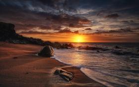 Обои море, утро, скалы, пляж, камни