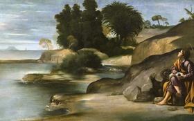Обои картина, мифология, Пейзаж со Святым Иоанном Богословом, Фра Хуан Батиста Маино