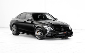 Обои черный, Mercedes-Benz, белый фон, Brabus, мерседес, брабус, C-Class
