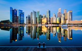 Обои Singapore, Reflection, Marina Bay, Waterfront City