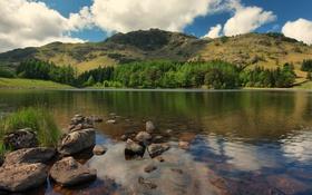 Картинка облака, деревья, горы, озеро, камни, Англия, Millbeck