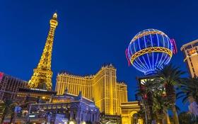 Обои казино, Невада, США, Лас-Вегас, башня, огни, ночь