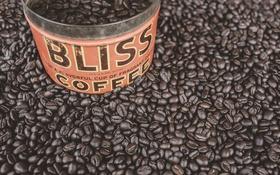 Обои кофейные зерна, кофе, банка