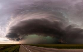 Обои дорога, небо, шторм, природа, стихия, буря