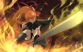 Обои небо, девушка, облака, деревья, оружие, меч, аниме