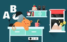 Обои кот, комната, мебель, вектор