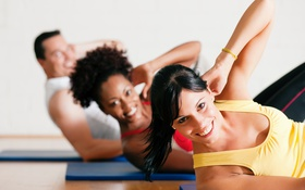 Обои group, class, abs, fitness trainer