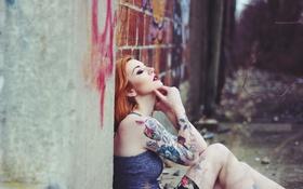 Картинка девушка, тату, профиль, татуировки