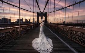 Картинка девушка, мост, платье, азиатка, невеста