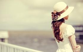 Картинка девушка, ветер, волосы, шляпа