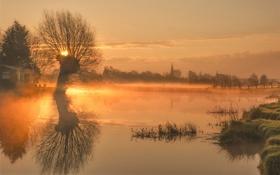 Картинка закат, туман, река