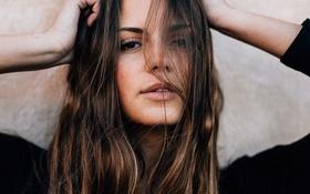 Картинка взгляд, девушка, волосы, портрет