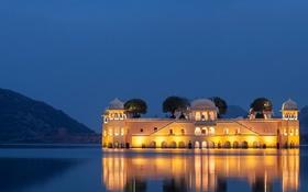 Картинка горы, огни, озеро, Индия, дворец, Джайпур, Man Sagar Lake