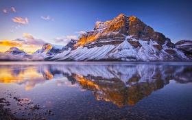 Обои снег, природа, озеро, отражение, Канада, Альберта, Banff National Park