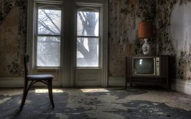Обои телевизор, окно, стул