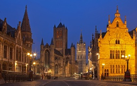 Обои Гент, Бельгия, дома, огни, ночь