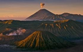 Обои кратер, вулкан, природа, горы