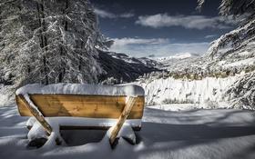 Обои зима, снег, скамья