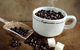 Обои макро, сахар, зёрна, кофе