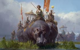 Обои арт, бегемот, поход, отряд, Tianhua Xu, фЭнтези