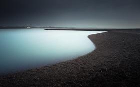Обои берег, озеро, ночь
