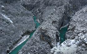 Обои снег, горы, озеро, река, скалы, Франция, Заповедник Вердон