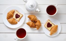 Обои cup, круассан, сердечки, кофе, romantic, coffee, love