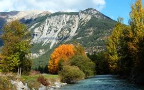 Картинка осень, деревья, горы, река, камни, Франция, солнечно
