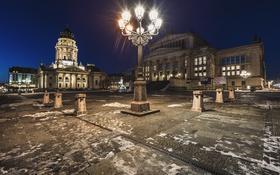 Обои ночь, огни, Германия, площадь, фонари, архитектура, Берлин