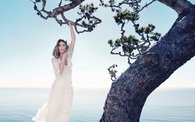 Картинка море, дерево, модель, платье, актриса, горизонт, фотограф