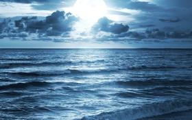 Обои свет, прибой, луна, море, волны, небо, горизонт