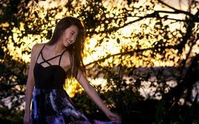 Обои лето, девушка, улыбка, настроение, платье