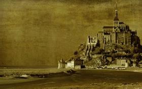 Обои замок, Франция, текстура, Нормандия, Мон-Сен-Мишель