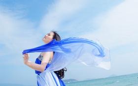 Картинка girl, white, dress, blue, beautiful, asian, backgroung