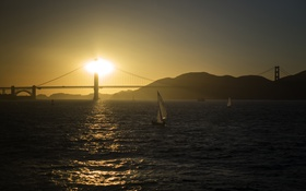 Обои пейзаж, закат, мост, Сан-Франциско, San Francisco