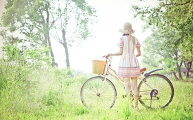 Картинка девушка, свет, велосипед