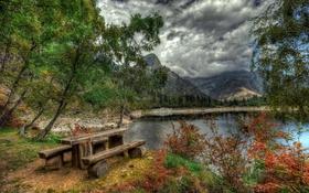 Обои лес, облака, деревья, горы, озеро, берег, hdr