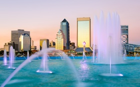 Обои дизайн, дома, Флорида, США, фонтаны, Jacksonville