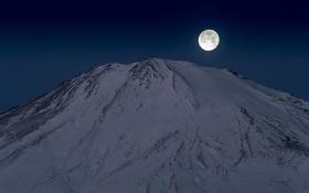 Картинка вулкан, луна, Япония, гора, Fuji