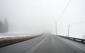 Обои зима, дорога, туман