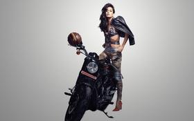 Обои девушка, актриса, красавица, girl, sexy, legs, bike