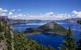 Обои небо, облака, деревья, озеро, камни, скалы, остров