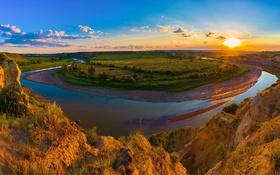 Картинка небо, солнце, облака, закат, река, поля, США