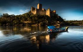Обои река, замок, лодка, Португалия, Almourol Castle