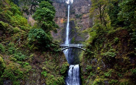 Картинка Multnomah Falls, мост, водопад, Columbia River, Oregon, Benson Bridge, скалы